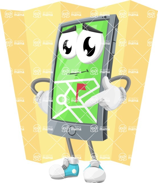 Smart Phone Cartoon Vector Character - With Opened Maps Illustration