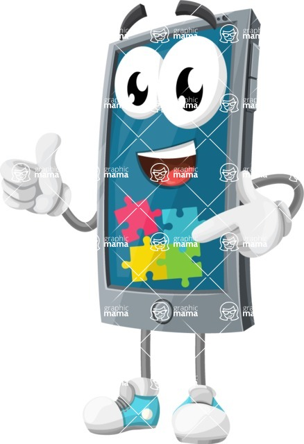 Smart Phone Cartoon Vector Character - with Puzzle