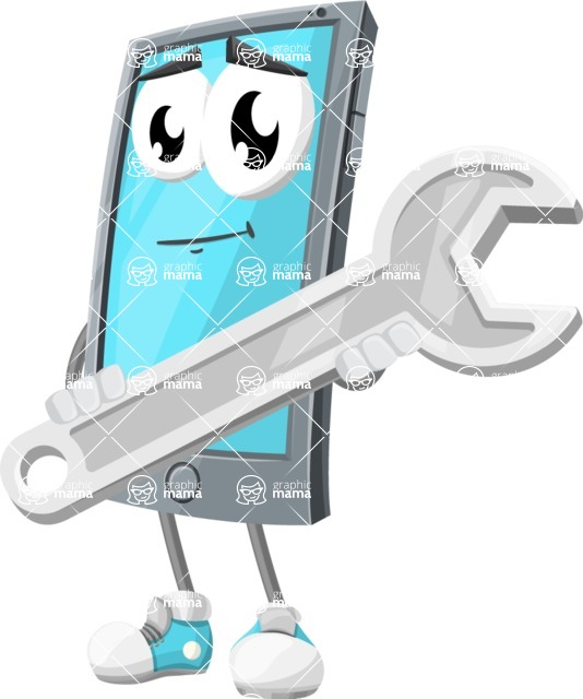 Smart Phone Cartoon Vector Character - with Repairing tool - wrench