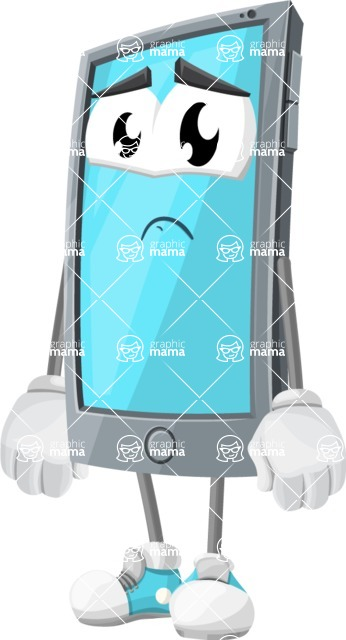 Smart Phone Cartoon Vector Character - With Sad Face