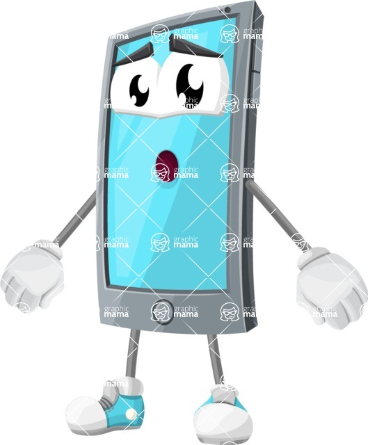 Smart Phone Cartoon Vector Character - With Stunned Face