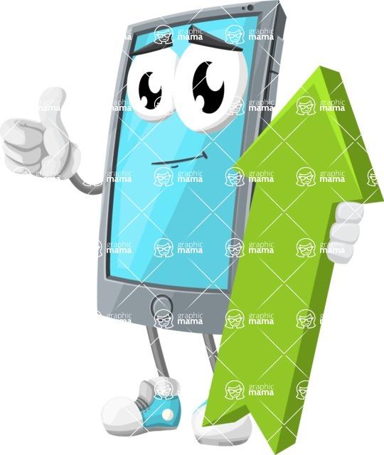 Smart Phone Cartoon Vector Character - with Up arrow
