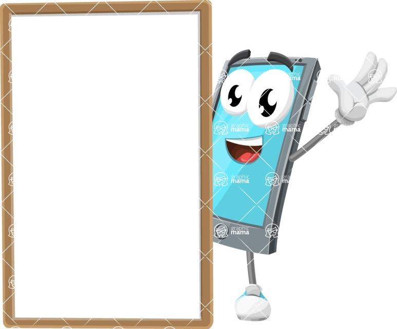 Smart Phone Cartoon Vector Character - With Whiteboard and Smiling