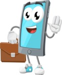 Smart Phone Cartoon Vector Character - Being Bussy with Briefcases