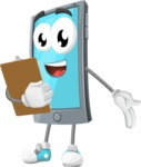 Smart Phone Cartoon Vector Character - Being Happy and Showing a Notepad