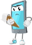 Smart Phone Cartoon Vector Character - Being Sad and Holding a Notepad