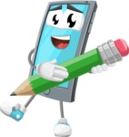Smart Phone Cartoon Vector Character - Holding a Pencil