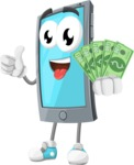 Smart Phone Cartoon Vector Character - Holding Cash Money Banknotes