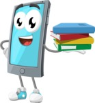 Smart Phone Cartoon Vector Character - Holding Education Books