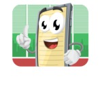 Smart Phone Cartoon Vector Character - In Office Illustration Concept