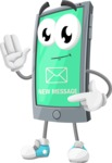 Smart Phone Cartoon Vector Character - New Message SMS