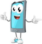 Smart Phone Cartoon Vector Character - Pointing and Smiling