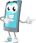 Smart Phone Cartoon Vector Character - Pointing with Hands
