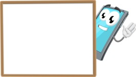 Smart Phone Cartoon Vector Character - Presenting on Blank Whiteboard Template