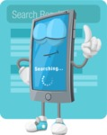 Smart Phone Cartoon Vector Character - Search Results Illustration Concept