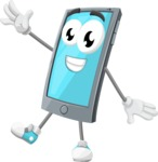 Smart Phone Cartoon Vector Character - Waving with a Hand