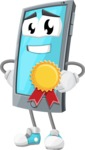 Smart Phone Cartoon Vector Character - Winning a Prize