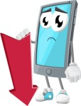 Smart Phone Cartoon Vector Character - With Arrow going Down