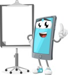 Smart Phone Cartoon Vector Character - With Blank Presentation Board