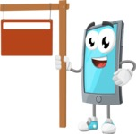 Smart Phone Cartoon Vector Character - With Blank Real Estate Sign