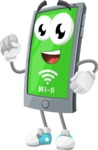 Smart Phone Cartoon Vector Character - With Connected Wi-Fi