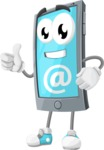 Smart Phone Cartoon Vector Character - With Email Sign