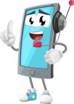 Smart Phone Cartoon Vector Character - With Headphones