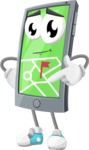 Smart Phone Cartoon Vector Character - With Opened Navigation App