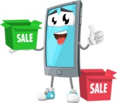 Smart Phone Cartoon Vector Character - With Sale Boxes