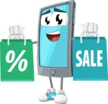 Smart Phone Cartoon Vector Character - With Shopping Bags