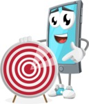 Smart Phone Cartoon Vector Character - With Target