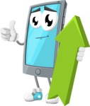 Smart Phone Cartoon Vector Character - with Up arrow