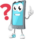 Smart Phone Cartoon Vector Character - Wondering With Question Mark