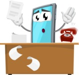 Smart Phone Cartoon Vector Character - Working On Desk and Stressed from Work
