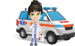 Female Medic Cartoon Vector Character AKA Dr. Fran First-Aid - With Ambulance