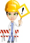 Female Medic Cartoon Vector Character AKA Dr. Fran First-Aid - With Under Construction Sign