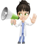 Female Medic Cartoon Vector Character AKA Dr. Fran First-Aid - With Loudspeaker