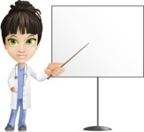 Female Medic Cartoon Vector Character AKA Dr. Fran First-Aid - Pointing on Whiteboard