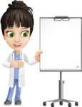 Female Medic Cartoon Vector Character AKA Dr. Fran First-Aid - With Blank Whiteboard