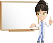 Female Medic Cartoon Vector Character AKA Dr. Fran First-Aid - With Blank Blackboard