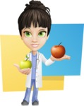 Female Medic Cartoon Vector Character AKA Dr. Fran First-Aid - One Apple A Day Keeps the Doctor Away Illustration Concept
