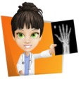 Female Medic Cartoon Vector Character AKA Dr. Fran First-Aid - With X-Ray and Flat Shape Background