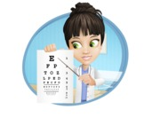 Female Medic Cartoon Vector Character AKA Dr. Fran First-Aid - With Eye Chart and Hospital Background Illustration
