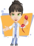 Female Medic Cartoon Vector Character AKA Dr. Fran First-Aid - Talking on Phone with Colorful Background