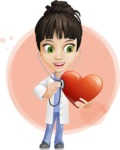 Female Medic Cartoon Vector Character AKA Dr. Fran First-Aid - Curing Heart Illustration with Flat Background