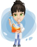 Female Medic Cartoon Vector Character AKA Dr. Fran First-Aid - With Flusk and Simple Style Background