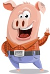 Farm Pig Cartoon Vector Character AKA Pigasso the Creative Pig - Normal