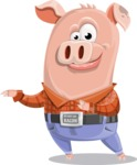 Farm Pig Cartoon Vector Character AKA Pigasso the Creative Pig - Point 2