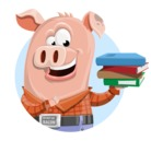 Farm Pig Cartoon Vector Character AKA Pigasso the Creative Pig - Shape 1