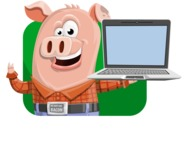 Farm Pig Cartoon Vector Character AKA Pigasso the Creative Pig - Shape 2